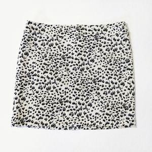 LOFT White Snow Leopard Animal Print Mini Skirt